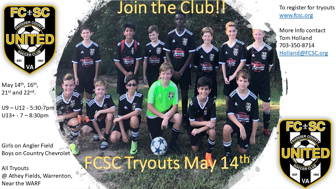 FCSC Travel Soccer Tryouts Begin May 14th